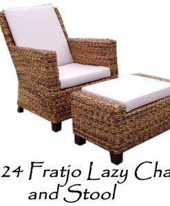 Fratjo Wicker Lazy Chair and Stool