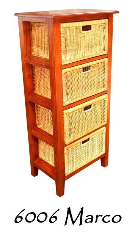 6006-Marco Wicker Wooden Drawer