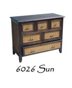 6026-Sun Wicker Wooden Drawer