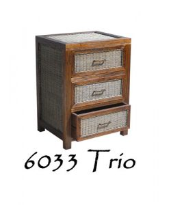 6033-Trio Wooden Wicker Drawer