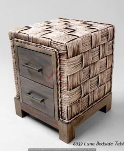Luna Rattan Bedside Table - DADU