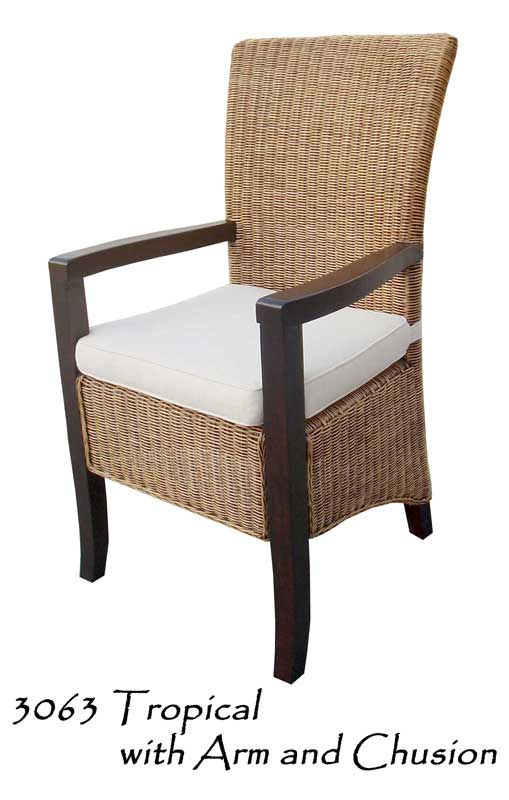 Tropical Rattan Chair With Arm, Tropical Wicker Furniture