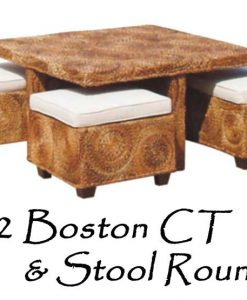 Boston Wicker Coffee Table and Stool Rounded