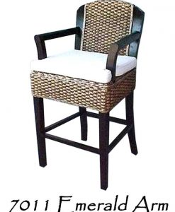 Emerald Wicker Arm Barstool