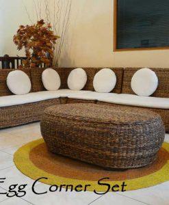 Egg Corner Wicker Living Set