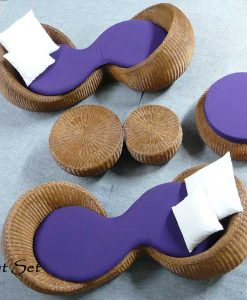 Nut Rattan Living Set