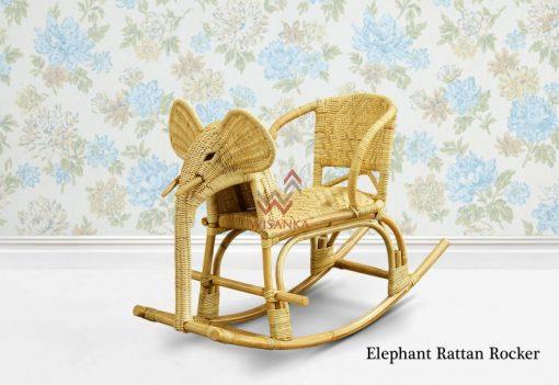 Elephant Wicker Rattan Rocker
