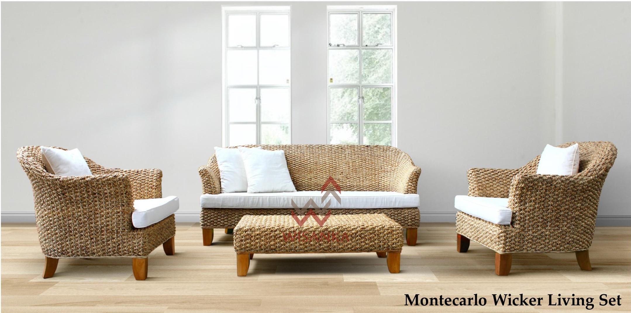 Montecarlo Wicker Living Set | Natural Rattan Furniture | Wicker ...