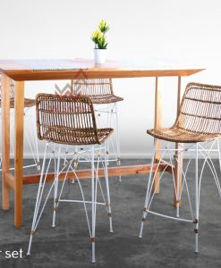 Lila Rattan Bar Set