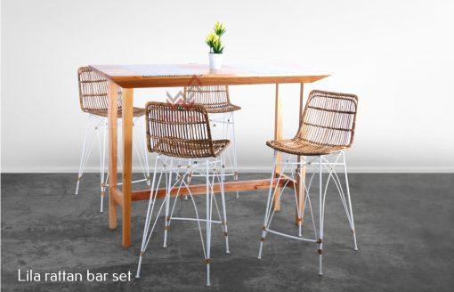 Lila Rattan Bar Set