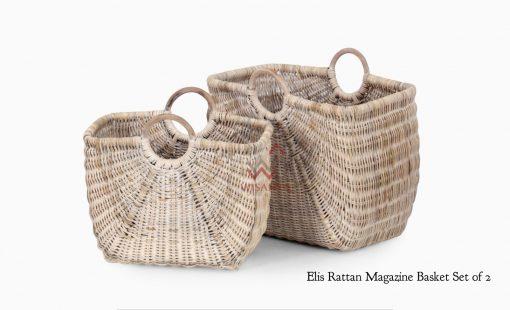 ELIS Rattan MAGAZINE BASKET SET OF 2