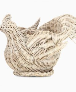 Abstract Chick Figurine Rattan Basket Accessories