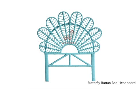 Butterfly Rattan Headboard Blue